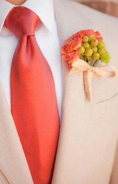 red groom boutonniere