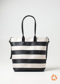 Harvey's Streamline Tote Black + White Product (made out of seatbelts)