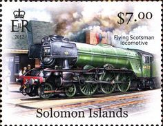 Solomon Islands issued a set of 5 postage stamps on 15 February 2013 showing steam locomotives. Here is the first one featuring the Flying Scotsman: