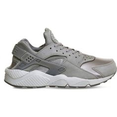 NIKE Air Huarache leather and neoprene trainers (€130) ❤ liked on Polyvore featuring shoes, sneakers, grey off white, gray sneakers, neoprene shoes, nike shoes, lace up sneakers and leather lace up shoes
