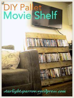 DIY Pallet Movie Shelf Tutorial   super easy Pallet movie shelf   Housing   Pinterest   Movie shelf  Pallets  . Easy Diy Dvd Shelf. Home Design Ideas