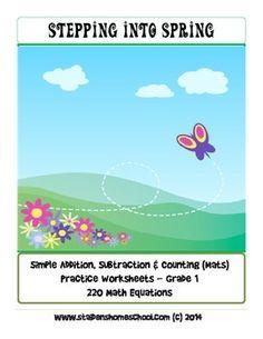 No Prep Worksheets! 220 Spring Themed Basic Operations Equations - Grade 1