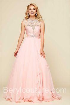 Ball Gown High Neck Open Back Long Pink Chiffon Beaded Prom Dress