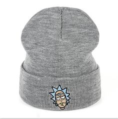 bc0c7119b8e Rick Beanies Rick and Morty Hats Elastic Brand Embroidery Warm Winter  Unisex Knitted Hat Skullies US