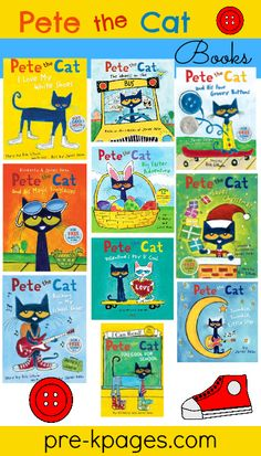 Pete the Cat Story Books. Our class last year absolutely loved Pete the cat books Rhyming Activities, Preschool Literacy, Preschool Books, In Kindergarten, Book Activities, Memorial Day, Pre K Pages, Cat Activity, Album Jeunesse