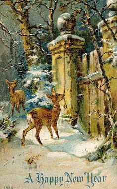 """""""A Happy New Year"""" vintage card"""