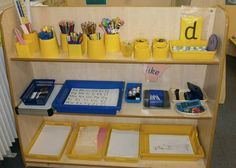 writing area - pic only Eyfs Classroom, Classroom Helpers, Classroom Layout, Classroom Organisation, Classroom Design, Organization, Writing Lab, Writing Corner, Writing Area