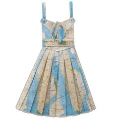 crafted from vintage printed maps; not wearable on the runway, but perfect for prettying up a naked wall and planning your next bold adventure...