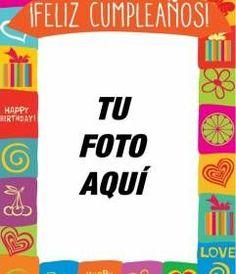 #Tarjeta de #cumpleaños con marco de colores para personalizar las fotos de tus amigos y familiares el día de su cumple. Con este marco podrás crear una postal de #cumpleaños divertida con dibujos de colores, regalos, corazones, flores y mariposas y además con el texto. www.fotoefectos.com