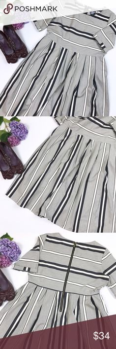 Ampersand Ave gray cream stripe midi dress L From my own closet - a buy that was too big!  Ampersand Ave / size L  . Like new gray and cream striped midi dress. Short sleeves cuffed at hem. Back has exposed zipper. 100% cotton.  Ptp 20.5, length 42 Ampersand Ave. Dresses Midi