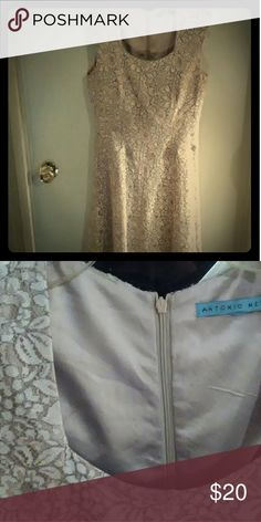 ANTONIO MELANI LACE DRESS Beige and brown lace Antonio Melanie dress. Good condition. ANTONIO MELANI Dresses High Low