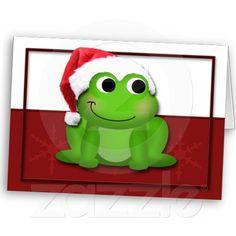Hoppy Christmas Santa Hat Froggy custom Card by #starzraven