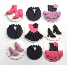 Set of edible icing Ballroom dancing themed cupcake toppers - dress, shoes, tuxedo
