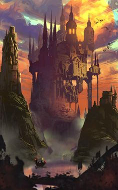 Environment concept art Practice, I think i´ve seen too much Castlevania (damnnnn netflix, let me paint more) Fantasy Places, Sci Fi Fantasy, Fantasy World, Fantasy City, Castlevania Netflix, Castlevania Anime, Vampire Castle, Environmental Architecture, Forgotten Realms