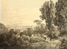 K.POST(1834-1877), Malerische Ansicht von Rom u dem weiteren Umland, Kupferstich