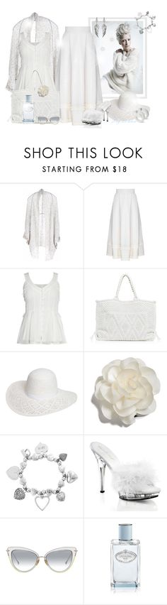 """""""~Blanc d'argent~"""" by li-lilou ❤ liked on Polyvore featuring Paychi Guh, FLOW the Label, Antonello, Dorothy Perkins, Cara, ChloBo, Fabulicious, Prada and House of Harlow 1960"""