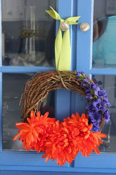 Orange Chrysanthemum and Violet Wreath - bright colors for fall and autumn