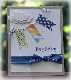 Great card - washi tape flags!  Great for masculine birthday, change the sentiment for baby shower, etc...