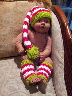 Crochet Baby Elf Christmas Hat & Legwarmers Photo by LuluBebeblu