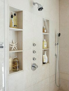 Bathroom Ideas Master Shower Shelves 29 Ideas For 2019 Trendy Bathroom, Master Bathroom Design, Bathroom Makeover, Bathroom Niche, Bathroom Interior, Built In Shower Shelf, Shower Shelves, Bathroom Shower, Bathroom Decor