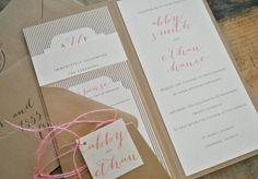 Luella Pocket Wedding Invitation Suite with Monogram by lvandy27