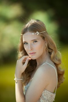 Boho Bridal Headband  Bridal Hairband  Bohemian by Ayajewellery