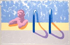 DAVID HOCKNEY / Paper Pools / Gregory In The Pool, 1978 colored and pressed paper pulp 32x50 in.