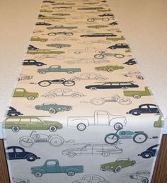 Vehicles Theme Table Runner by bourgebride on Etsy, $15.00
