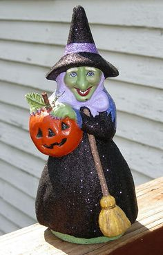 paper mache witch made with vintage chocolate mold jack o lantern pumpkin