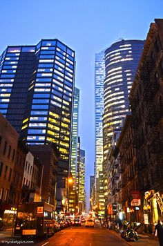 New York City in the evening, Midtown Manhattan, East 53rd Street