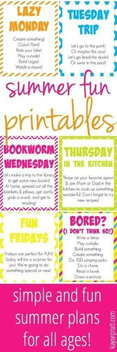 Free Printables to give your summer a little loose structure and a TON of fun! Don't go crazy with the kids home - enjoy your summer! Summer Fun For Kids, Summer Activities For Kids, Toddler Activities, Fun Activities, Cool Kids, Kids Summer Schedule, Free Summer, Holiday Activities, Summer 2016