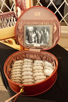 vintage suitcase escort card display