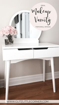 If you're struggling with space but still want an area for you to get ready every day, keep reading as I found the ideal makeup vanity for small spaces. Beauty Hacks Skincare, Diy Beauty, Beauty Products, Dressing Table Measurements, Love My Makeup, Everyday Make Up, Small Places, Parenting Styles