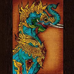 Baku by Palehorse Design Chinese Tattoo Artwork Art Paper Print.Fine art printed on heavy weight, 100 lb semi-gloss cover stock. Each print measures 12 inches x 18 inches cm x cm). Authorized Dealer of Steadfast Brands fine products. Thailand Art, Pale Horse, Lion Art, Thai Art, Mermaids And Mermen, Painting Tattoo, Poster Making, Ancient Art, Mythical Creatures