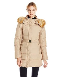 Jones+New+York+Women's+32+Inch+Down+Coat+with+Belt+and+Side+Panels,+Wicker,+Small