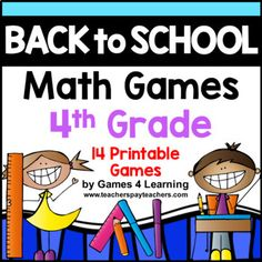 This is a collection of back to school math games containing 14 printable games that review a variety of third grade skills. They are ideal as back to school math games providing games that review third grade math concepts while engaging children in math activities that will ease children back to school.
