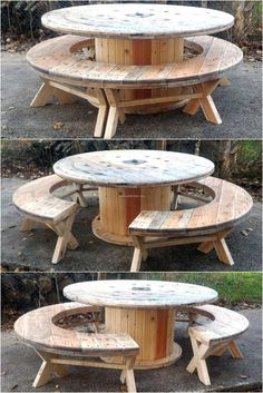 recycled-pallet-cable-reel-patio-furniture. Cool picnic table.