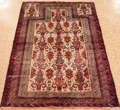 "3'5"" x 5'6"" PERSIAN BALOUCH Tribal Hand Knotted Wool BEIGE PRAYER Oriental Rug"