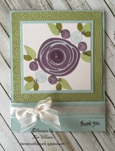Stampin Up Swirly Bird stamp set. Kim Williams www.stampinwithkjoyink.typepad.com. Pink Pineapple Paper Crafts. Kjoyink. Thoughtful Banners with a favorite color combo. New Stampin Up Annual Catalog 2016-2017. Quick and easy card idea. Love easy cards- check it out. Perfect plum and soft sky. Kim Williams