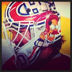 Thanks to Instagram/Twitter fan @lundi77 for sharing Peter Budaj's goalie mask. #TheSimpsons