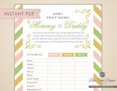 INSTANT PDF Baby Trait Game Like Mommy or Daddy by duecuori