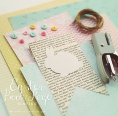 Easter Book Page Bunting + Free Bunny Template, alter to use for Alice in wonderland themed party invites