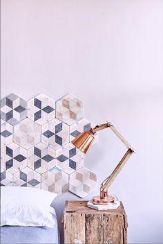 Bert & May's Reclaimed Encaustic Selaya Tiles. Genius headboard idea! http://www.bertandmay.com/product-variation-search?title=selaya