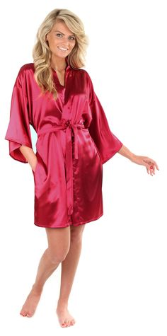 Women's Short Red Robe//wrap with Kimono Collar Softly Whisper 100/% Silk