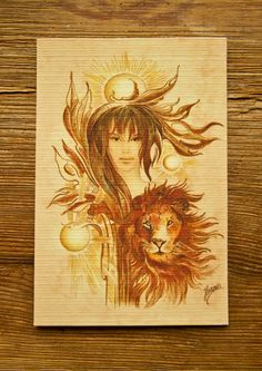 1/LEO Zodiac Sign angels protection horoscope magical lion planets power giclee print greeting card symbol spiritual christmas birthday gift