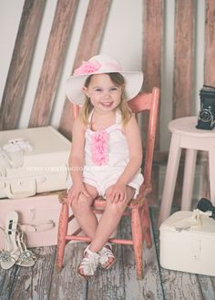 Kid Photography & Vintage Prop Rentals  Pink Chair from Finch Vintage Rentals in St. Louis (www.finchvintage.com)  Photos by Holly O'Bert Photography