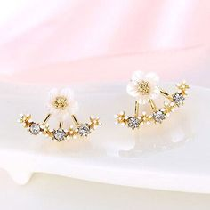 USTAR Flower Crystals Stud Earring for Women Rose gold color Double Sided Fashion Jewelry Earrings female Ear brincos Pending