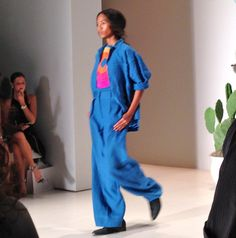 Sunny, Retro Vibe on the Mara Hoffman Runway Spring 2015: Mara Hoffman S/S 2015: Moon Blue Top & Trousers