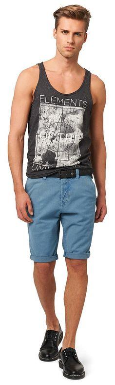 Canvas-Chino mit Chambray-Details für Männer (unifarben, mit Knopfleiste) aus Canvas, krempelbare Beinsäume für einen lässigen Stil, kleines Logo-Badge in Leder-Optik. Material: 100 % Baumwolle...