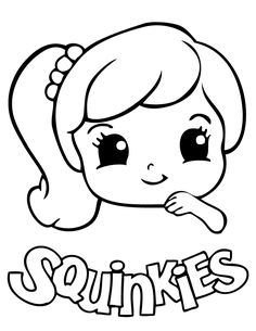 cute squinkies girl coloring page free printable coloring pages